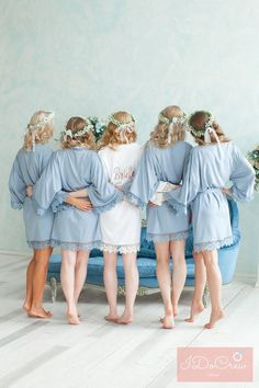 Set of 8 Bridesmaid Robes Wedding Gifts For Bridesmaids, Bridesmaid Robes, Brides And Bridesmaids, Wedding Dresses, Bridal Party Robes, Bridal Gifts, Bridal Parties, Dream Wedding, Wedding Day