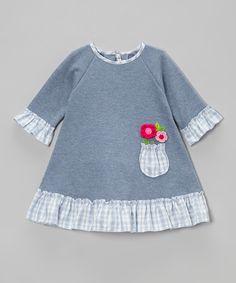 Loving this Blue Pocket Flower Ruffle Dress - Infant & Toddler on #zulily! #zulilyfinds