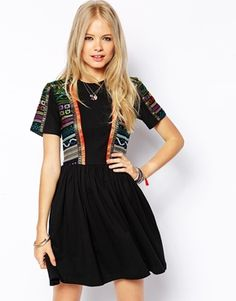 Image 1 ofASOS Skater Dress With Embroidered Trim