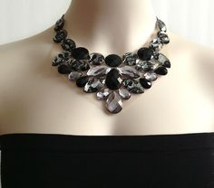 black bib necklace  black and grey rhinestone bib by BienBijou, $28.00