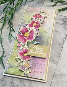 Watercolour Techniques, Birthday Cards, Happy Birthday, Studio Cards, Card Making Tips, Flower Spray, Cricut Cards, Simple Flowers, Color Blending