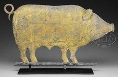 FINE GILT MOLDED COPPER PIG WEATHERVANE WITH ZINC HEAD.