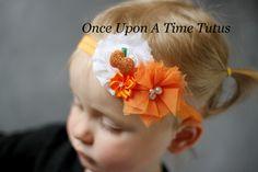 Orange & White Shabby Sparkle Headband - Glitter Pumpkin Halloween Photo Prop - Newborn Baby Hair Bow - Little Girls Hairbow by OnceUponATimeTuTus on Etsy https://www.etsy.com/listing/163139443/orange-white-shabby-sparkle-headband