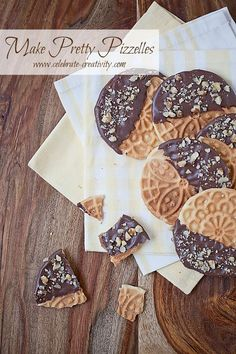 Quick and pretty dessert. Try making pizzelles dipped in yummy chocolate. Pizzelle Cookies, Pizzelle Recipe, Pizzelle Maker, Waffle Cookies, Just Desserts, Delicious Desserts, Yummy Food, Italian Desserts, Fun Food