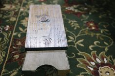 child's bench in distressed white. $35.00, via Etsy.
