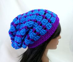 Brick House Slouchy Hat in Cobalt Blue and Vivid by Threadmill, $31.00