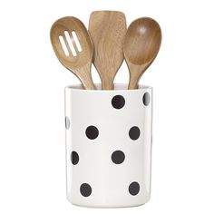 A stylish holder that keeps cooking tools within reach, the Deco Dot Utensil Crock from kate spade new york's All In Good Taste line of kitchenware is adorned in a classic polka dot pattern. Included with the stoneware crock are 3 wooden utensils. Kitchen Utensils List, Kitchen Utensil Set, Kitchen Canisters, Kitchen Tools, Kitchen Gadgets, Kitchenware, Kitchen Ideas, Kitchen Decor, Kitchen Dining