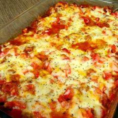Zucchini Pizza Casserole - I added mushrooms,  fresh spinach and used turkey pepperoni, DELISH!