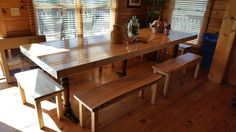 New handmade benches to go with this stunning table.   Benches made by Figures of Wood  Kalamazoo  awesome job.