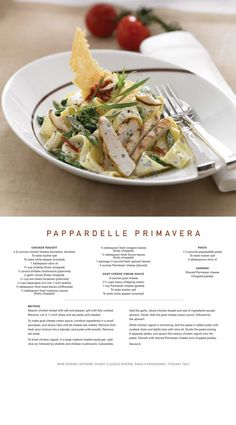 Here's the Recipe for Celebrity Cruise Lines Pappardelle Primavera! Wine Recipes, Gourmet Recipes, Cooking Recipes, Healthy Recipes, Sashimi, Star Food, Gnocchi Recipes, Pasta, Teller