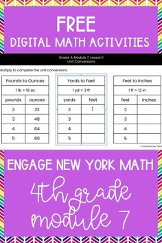 Master the skills taught in Engage New York Math Grade 4 with these FREE digital math activities. These interactive math worksheets are on Google Slides, so you can easily move pieces or fill in blanks to solve 4th grade math problems to review Engage New York Math Grade 4. These are perfect for digital math centers or interactive math worksheets. Best of all? They are FREE at TheProductiveTeacher.com! #engagenewyork #digitalmath #onlinemath #interactivemathworksheets #TheProductiveTeacher 4th Grade Activities, Division Activities, Subtraction Activities, Math Games, Math Fractions, Multiplication, Elementary Teacher, Upper Elementary, 4th Grade Math Problems