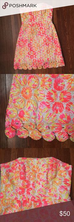 Lilly Pulitzer strapless dress Neon eyelet, worn once, like new. Lilly Pulitzer Dresses Strapless