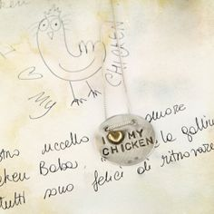 """Silver pendant with golden heart and stamped lettering """"I <3 my chicken"""" by MaschioGioielli, €75.00 (instead of 110 € till 15/02). #maschiogioielli #valentine's #heart #silver #pendant #chicken #sanvalentino"""