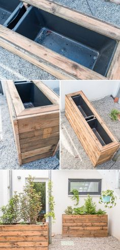 Our terrace makeover - before / after (part - Leelah .- Unser Terrassen makeover – vorher/ nachher (Teil – Leelah Loves DIY inspiration for a terrace makeover in the shade with previously after pictures and DIY upcycling planters - Large Garden Planters, Tall Planters, Patio Plants, Diy Planters, Patio Makeover, Garden Makeover, Exterior Makeover, Garden Projects, Diy Projects