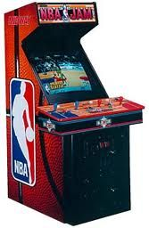 1993:NBA Jam by MIDWAY GAMES. Two-on-two basketball with digitized images of real NBA players, and no referee. Monster dunks and announcers, and a LOT of fun! The cabinet shipped with a large closeup of a basketball and a huge NBA logo as the sideart. Really fun multi-player action. CLIC PICTURE TO SEE IT IN ACTION. Review by Gamester81.com...thank you Gamester81!!!