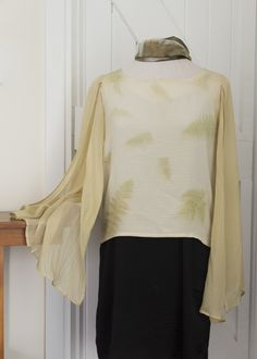Fern Printed Angel Blouse Wool Wash, Silk Tunic, Red Felt, Silk Charmeuse, Silk Crepe, Silk Top, Fit Women, Feminine, Dyed Silk