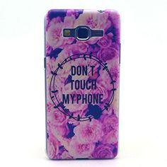 JIAXIUFEN Do Not Touch My Phone Flower Cuir Coque Strass Case Etui Coque étui de portefeuille protection Coque Case Cas Cuir Pour Samsung Galaxy Grand Prime G530/G530H/G530FZ/G5308W/G5309W/G5306W