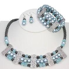 Regency Blue Filigree Jewellery Set