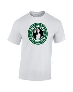 Espresso Patronum. Harry Potter Starbucks parody shirt. Available sizes for this listing are Small, Medium, Large, Extra Large, 2XL, 3XL. All sizes are standard sizes. Image is sublimated onto the 50%