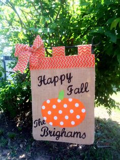 Fall Garden Flag ,Pumpkin Flag, Personalized Fall Flags, Burlap Garden Flag ,Halloween Flag, Fall Decorations,Fall Porch by TallahatchieDesigns on Etsy https://www.etsy.com/listing/202119978/fall-garden-flag-pumpkin-flag
