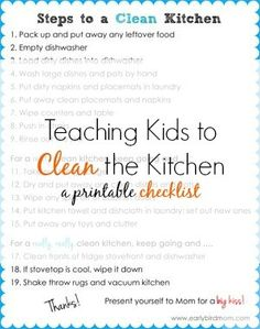 Do your kids know how to clean up the kitchen? If not, you're missing out on a HUGE source of help! This is a life skill every kid needs to learn and the earlier you start, the better. This printable chart breaks up the task into levels of clean, allowing you to ask for