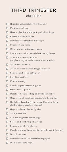 Things to Think About During the First Trimester of Your Pregnancy Getting Ready For Baby, Preparing For Baby, Waiting For Baby, Mama Notes, 3. Trimester, 3rd Trimester Pregnancy, Trimester Chart, Baby Checklist, Hospital Bag Checklist