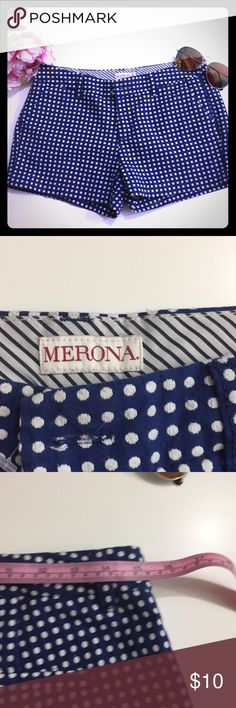 Merona size 2 polka dots shorts Navy blue polka dots shorts  45% polyester  2% rayon 53%coton merona Shorts