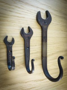 Blacksmith Forged Iron Wrench Wall Hooks.Set of 3 pieces. by Maxikovka on Etsy https://www.etsy.com/listing/215166400/blacksmith-forged-iron-wrench-wall