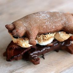 Bacon S'mores!!...with homemade graham crackers shaped like little piggies stuffed with bacon, marshmallow and chocolate!