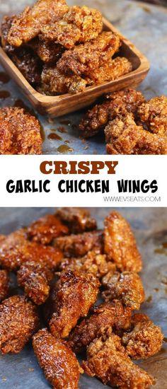 sticky-crispy-garlic-chicken-wings-pin-1 #chickenfoodrecipes