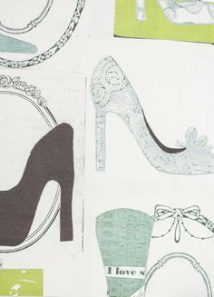 Well Heeled Wallpaper Large high heel shoe print in aubergine and mint on white lined wallpaper.