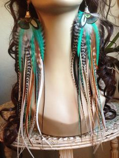 13 inch Feather Earrings Long Natural Turquoise Hippie Goddess Big and Full Feather Jewelry Holiday Sale. $72.00, via Etsy.