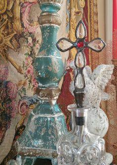 EXCLUSIVE ARTISAN DESIGN! Red & White Crystal Cross Wine Stopper Lead-Free Soldered Art Holiday Christmas Gift by BottleDecorByYvonne on Etsy