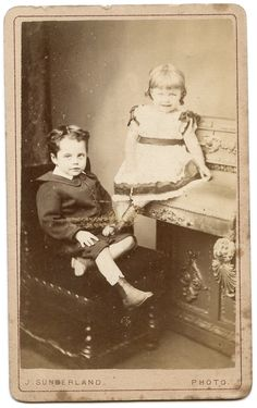 Cute CDV of two children, a boy and a girl. Photographer is J Sunderland, of Birmingham, Sheffield, Dudley, Wolverhampton and Leamington. 'Special studio for large portraits'!