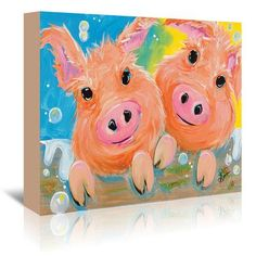 """East Urban Home Pig Duo by Terri Einer Painting Print on Wrapped Canvas Size: 11"""" H x 14"""" W x 1.5"""" D"""