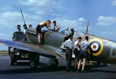 Spitfire maintenance. a Spitfire Mk.II being readied for it's next sortie in 1940.