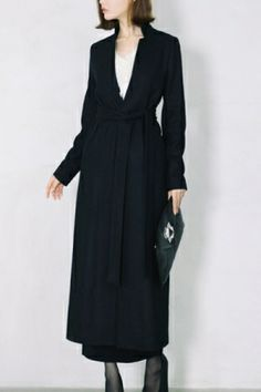 Notched Standing Collar Belted Maxi Coat by Oasap.com
