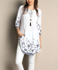 Another great find on #zulily! White Floral Chiffon Pin Tuck Tunic - Plus #zulilyfinds