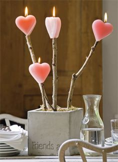 DIY heart candles on a stick- Such a cute idea to put on the table for a romantic V-day dinner..