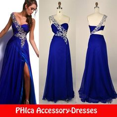 Bridesmaids Dress With Silver Leaf Beading In Royal Blue