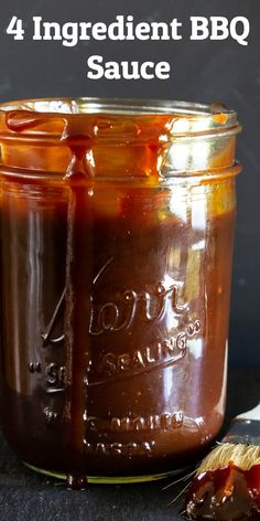 This tastyHomemade Barbecue Sauce needs only 4 ingredients.It tastes sweet and smoky and is delicious on just about any meat. Homemade Bbq Sauce Recipe, Barbecue Sauce Recipes, Barbecue Sauce For Ribs, Bbq Sauces, Grilling Recipes, Salmon Wellington Recipe, Wellington Food, Barbque Sauce, Rib Sauce