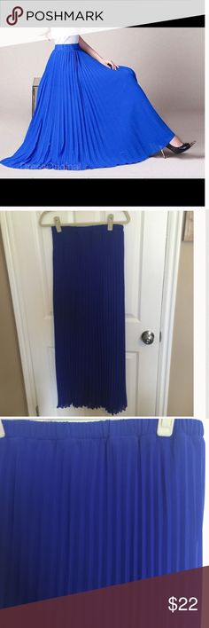Royal Blue Pleated Maxi Skirt Adorable, bought from another posher and it's too large . She only wore it once! Lined halfway down and pleated throughout. Width is 12.5 inches and stretchy. Skirts Maxi
