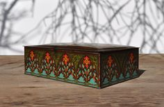 Antique Art Deco Tin Circa 1920s Large Vintage by FabsAndFaves