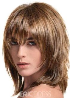 Ericdress Layered Shag Hairstyle with Full Fringe Middle Length Synthetic Capless Women Wigs Haircuts For Medium Hair, Short Shag Hairstyles, Bangs With Medium Hair, Medium Hair Cuts, Short Hair Cuts, Medium Hair Styles, Short Hair Styles, Full Fringe Hairstyles, Modern Shag Haircut