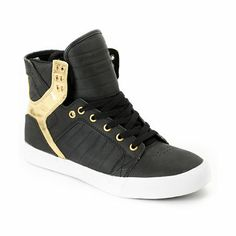 Trick out your shoe game like the boss you are with the ultra tough Supra Skytop black satin Tuf and gold foil skate shoes. These high top skate shoes feature a black weather and abrasion resistant Tuf upper for durability, high memory polyurethane insole Ive been wanting these for so long buy one get one free id get these ones and ethoer the res or the all black satin omg i need to get a job