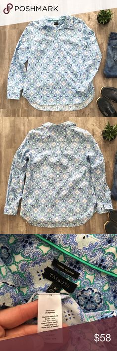 "Talbots The Longer Length Popover/Geometric Print Pristine preloved condition, no marks/stains, super cute Talbots Popover. Perfect silhouette of their best-selling popover shirt. Made from easy-care, wrinkle-resistant fabric, its both soft AND crisp, with a new, longer tunic length. Half placket popover tunic. Classic shirt collar. Side slits for ease, Bust darts for shape, L/S with fold-over fashion cuffs, wrinkle-resistant fabric,  28""; L, Petite 27""; Armpit seam to seam 19.5"", Slv Lgth…"