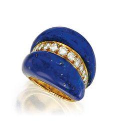 18 Karat Gold, Lapis Lazuli and Diamond Ring, Van Cleef & Arpels
