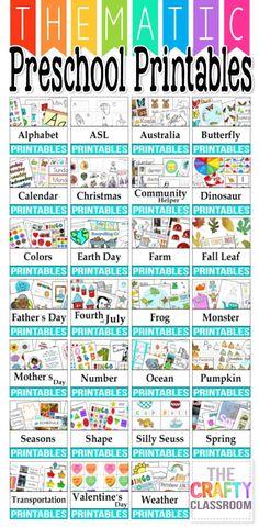 Free Thematic Preschool Printables