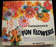 Vintage mattel thingmaker fun flowers toy from 1960s in box w/ molds, goop etc