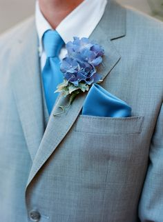 Gray Suit With Blue Silk Tie & Hydragea Bout | photography by http://www.carriepattersonphotography.com/